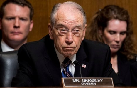 WASHINGTON, DC - SEPTEMBER 27: Sen. Chuck Grassley, R-Iowa, listens as Dr. Christine Blasey Ford testifies during the Senate Judiciary Committee hearing on the nomination of Brett M. Kavanaugh to be an associate justice of the Supreme Court of the United States on Capitol Hill September 27, 2018 in Washington, DC. A professor at Palo Alto University and a research psychologist at the Stanford University School of Medicine, Ford has accused Supreme Court nominee Judge Brett Kavanaugh of sexually assaulting her during a party in 1982 when they were high school students in suburban Maryland. (Photo By Tom Williams-Pool/Getty Images)