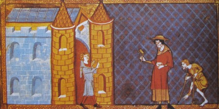 A 14th century image, Two lepers are denied entry into the city. One has crutches; the other is wearing Lazarus dress, handbag and rattle, to announce his coming.