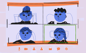 an image of several cartoon figures in a video chat